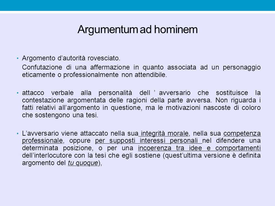 Argumentum ad hominem Argomento d'autorità rovesciato.