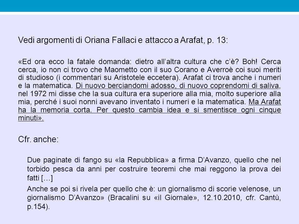 Vedi argomenti di Oriana Fallaci e attacco a Arafat, p. 13: