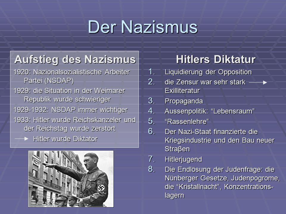 Der Nazismus Aufstieg des Nazismus Hitlers Diktatur