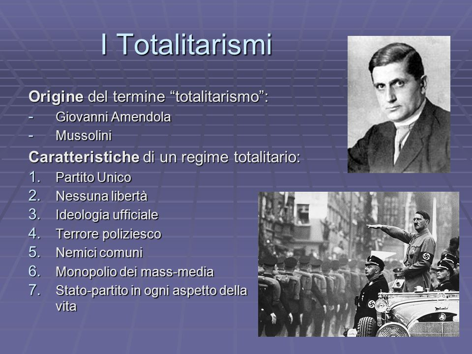 I Totalitarismi Origine del termine totalitarismo :