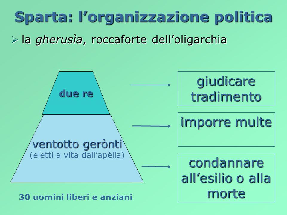 Sparta: l'organizzazione politica 30 uomini liberi e anziani