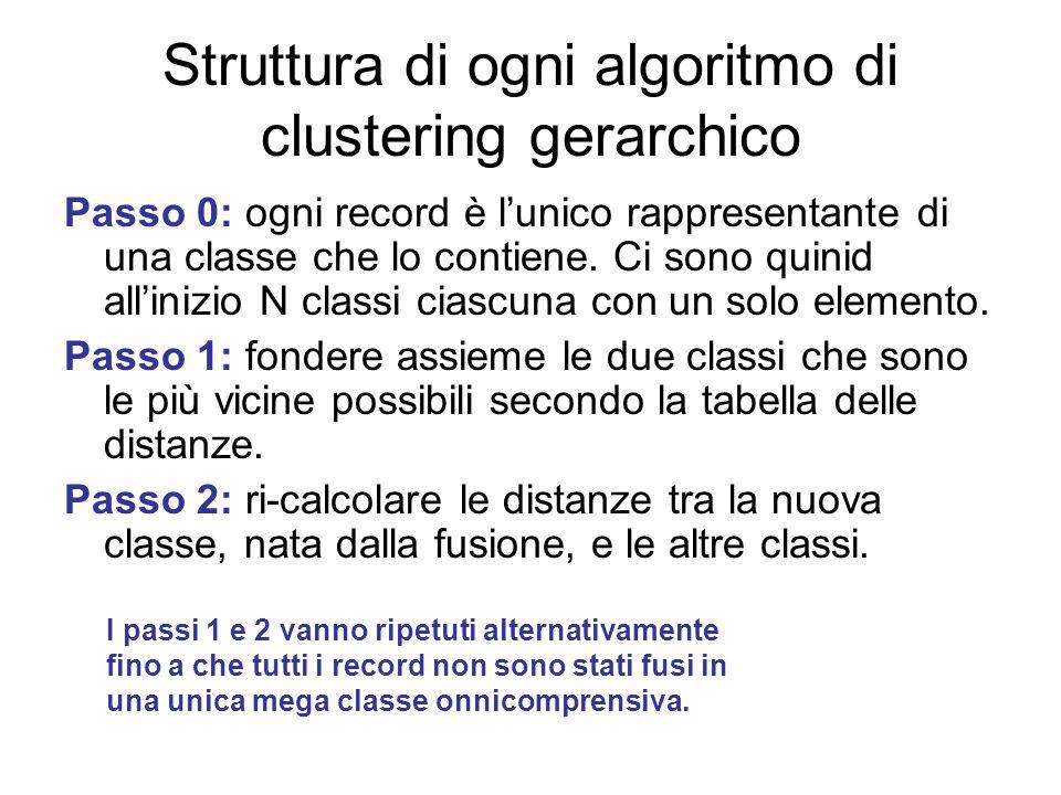 Struttura di ogni algoritmo di clustering gerarchico
