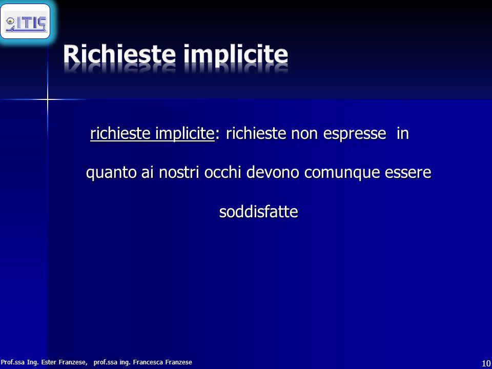 Richieste implicite richieste implicite: richieste non espresse in quanto ai nostri occhi devono comunque essere soddisfatte.