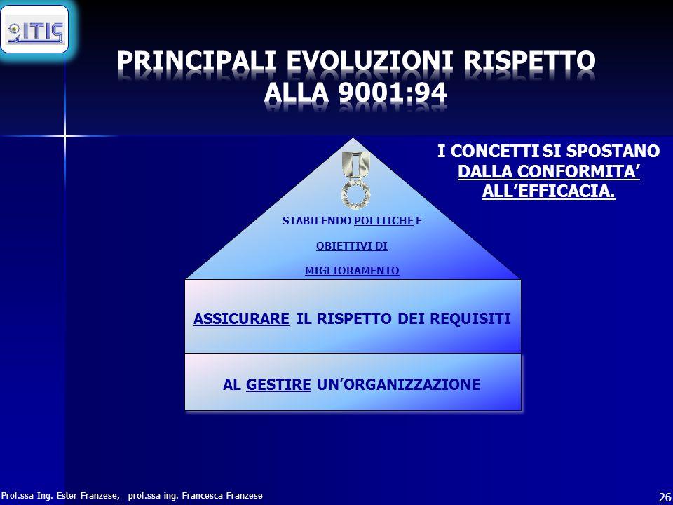 PRINCIPALI EVOLUZIONI RISPETTO ALLA 9001:94