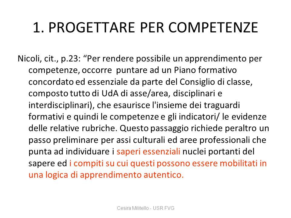 1. PROGETTARE PER COMPETENZE