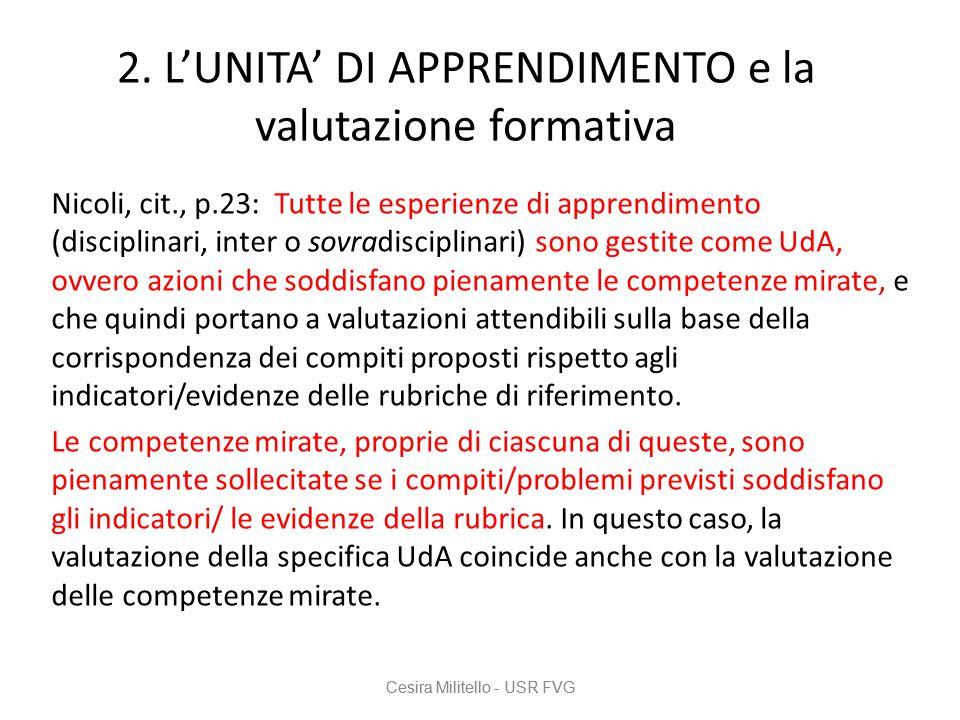 2. L'UNITA' DI APPRENDIMENTO e la valutazione formativa