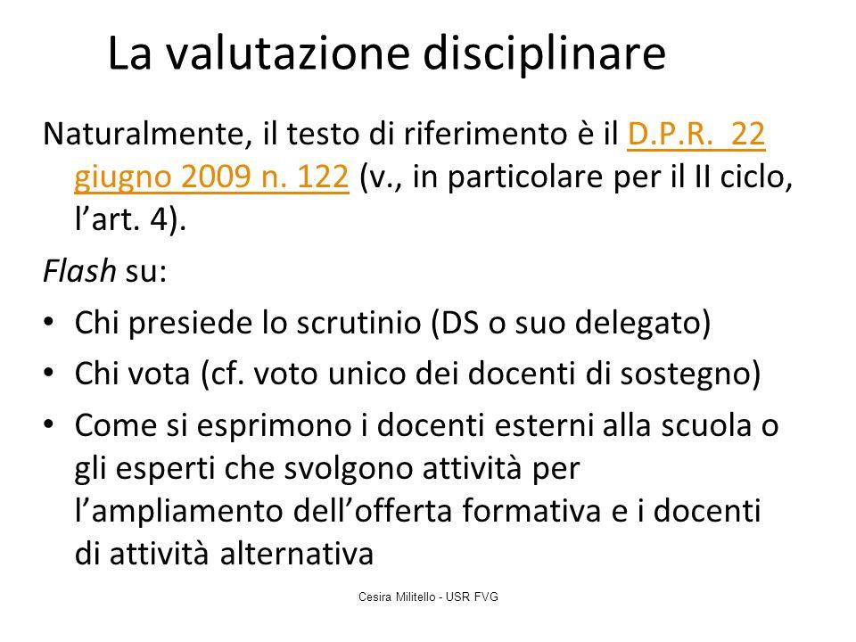 La valutazione disciplinare