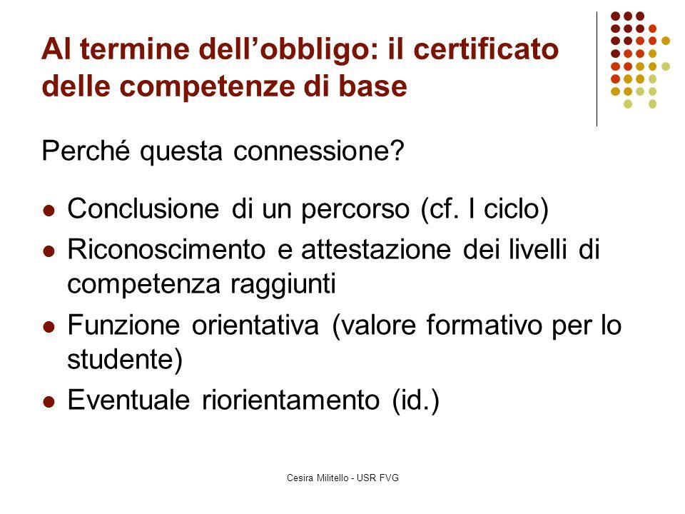 Al termine dell'obbligo: il certificato delle competenze di base