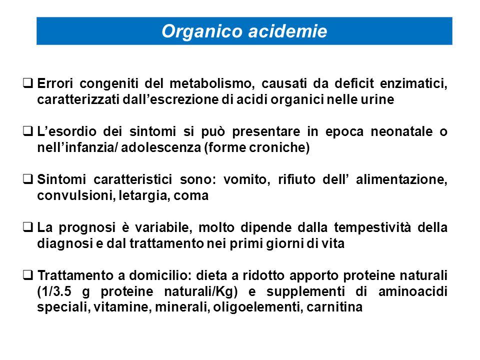 Organico acidemie Errori congeniti del metabolismo, causati da deficit enzimatici, caratterizzati dall'escrezione di acidi organici nelle urine.
