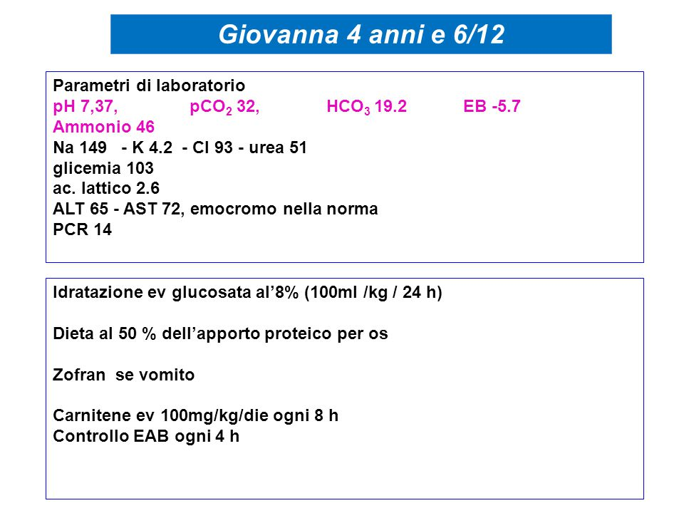 Giovanna 4 anni e 6/12 Parametri di laboratorio