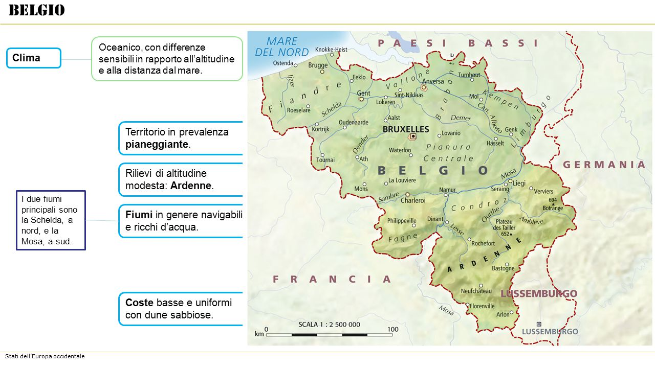 Belgio Clima Territorio in prevalenza pianeggiante.