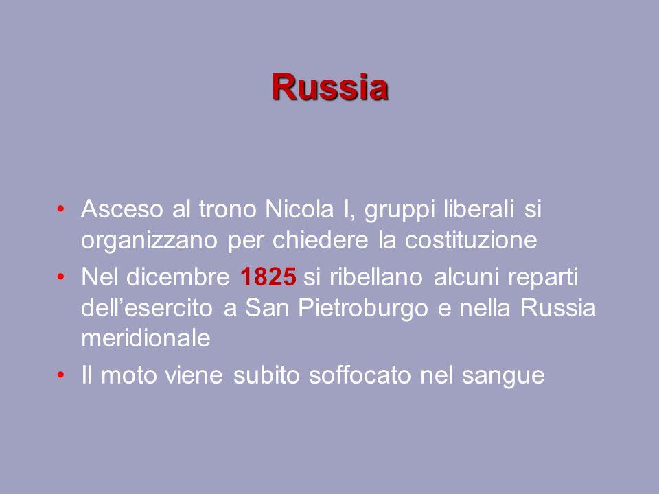 Russia Asceso al trono Nicola I, gruppi liberali si organizzano per chiedere la costituzione.