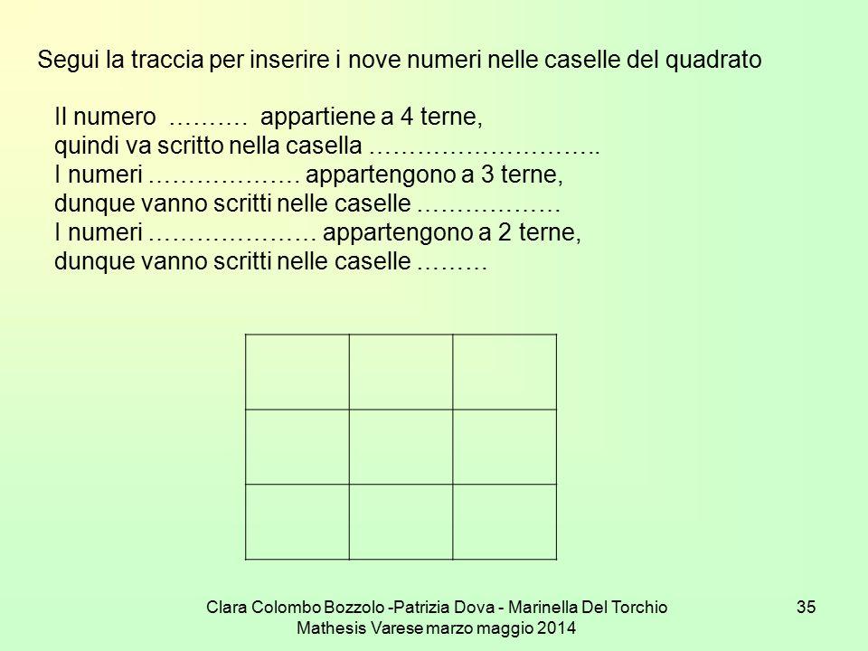 Segui la traccia per inserire i nove numeri nelle caselle del quadrato