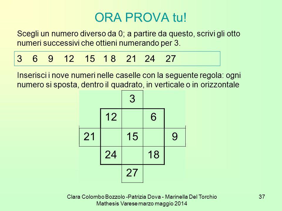 ORA PROVA tu! Scegli un numero diverso da 0; a partire da questo, scrivi gli otto numeri successivi che ottieni numerando per 3.