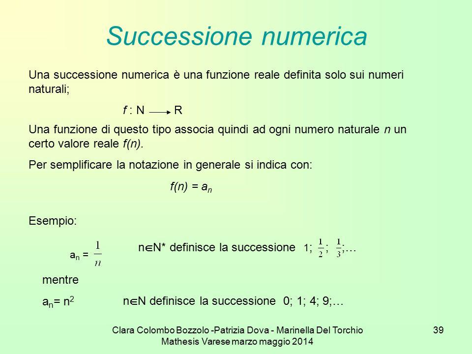 Successione numerica Una successione numerica è una funzione reale definita solo sui numeri naturali;