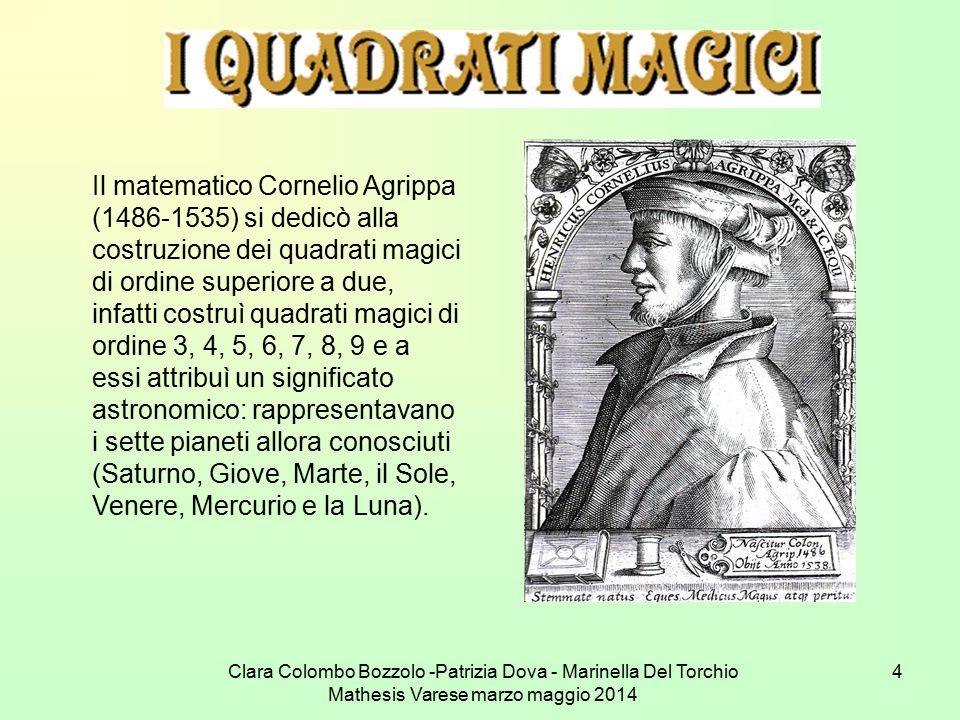 Il matematico Cornelio Agrippa (1486-1535) si dedicò alla costruzione dei quadrati magici di ordine superiore a due, infatti costruì quadrati magici di ordine 3, 4, 5, 6, 7, 8, 9 e a essi attribuì un significato astronomico: rappresentavano i sette pianeti allora conosciuti (Saturno, Giove, Marte, il Sole, Venere, Mercurio e la Luna).