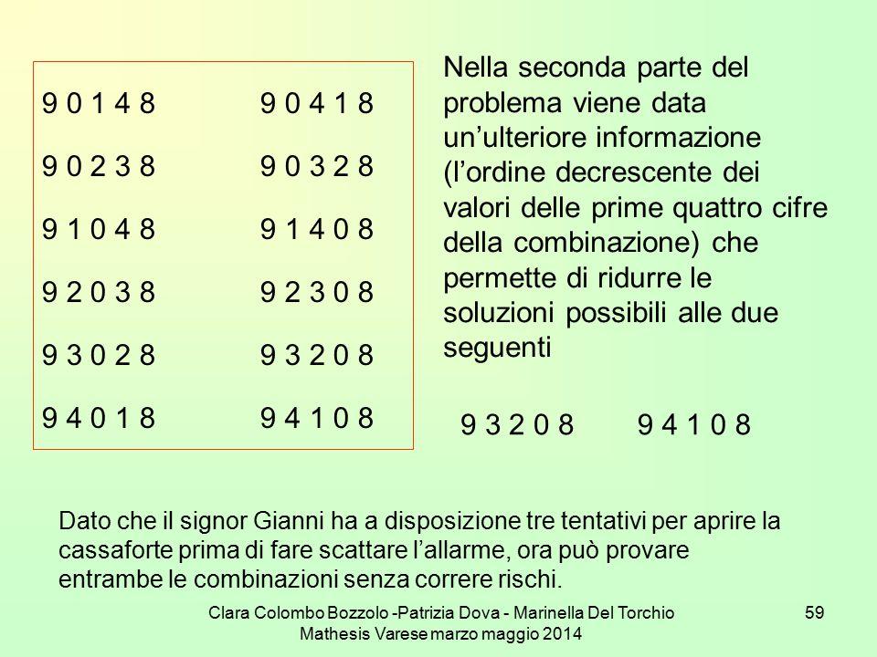Nella seconda parte del problema viene data un'ulteriore informazione (l'ordine decrescente dei valori delle prime quattro cifre della combinazione) che permette di ridurre le soluzioni possibili alle due seguenti