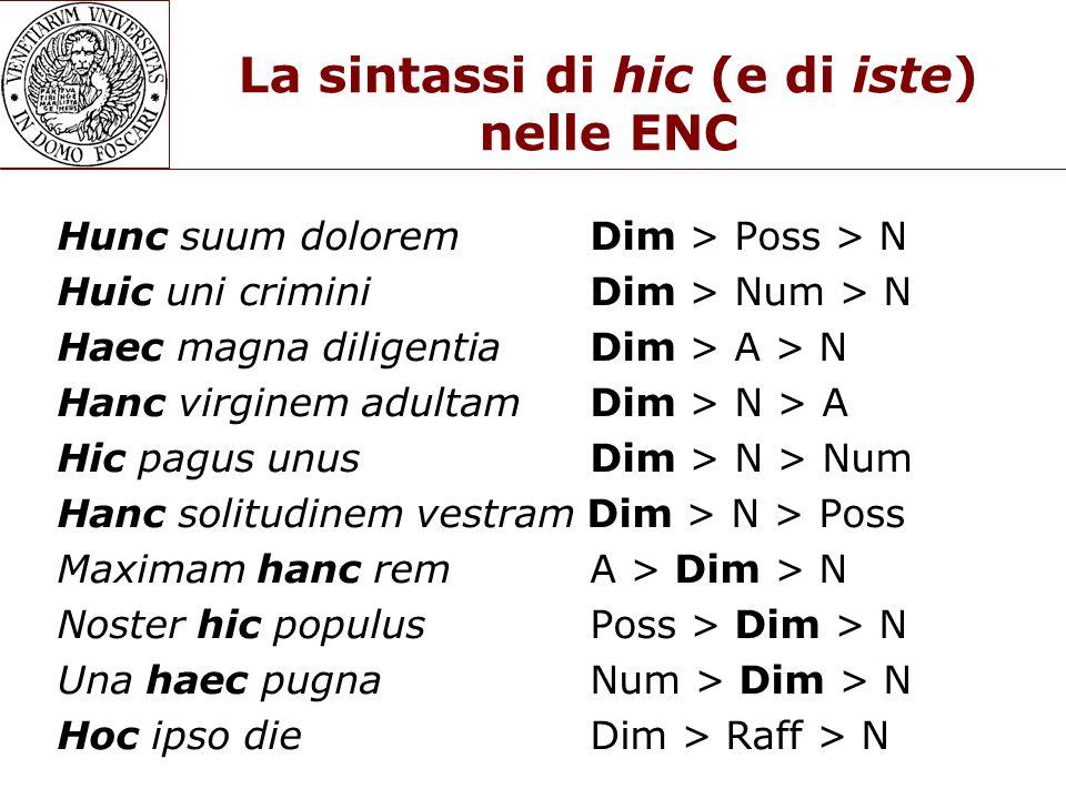 La sintassi di hic (e di iste) nelle ENC