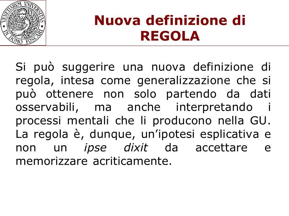Nuova definizione di REGOLA