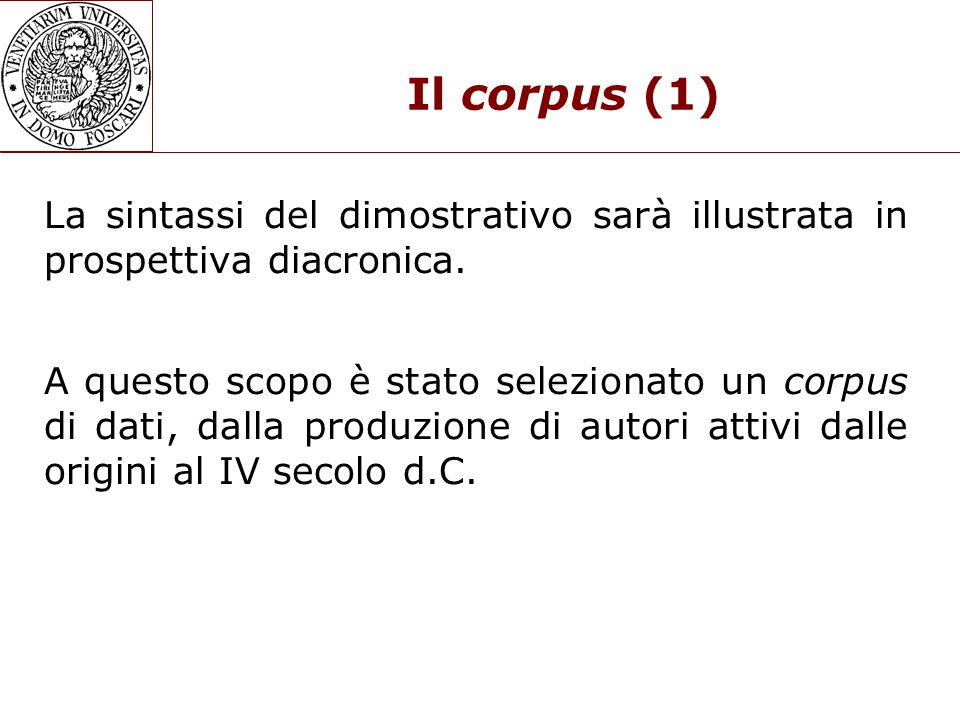 Il corpus (1)