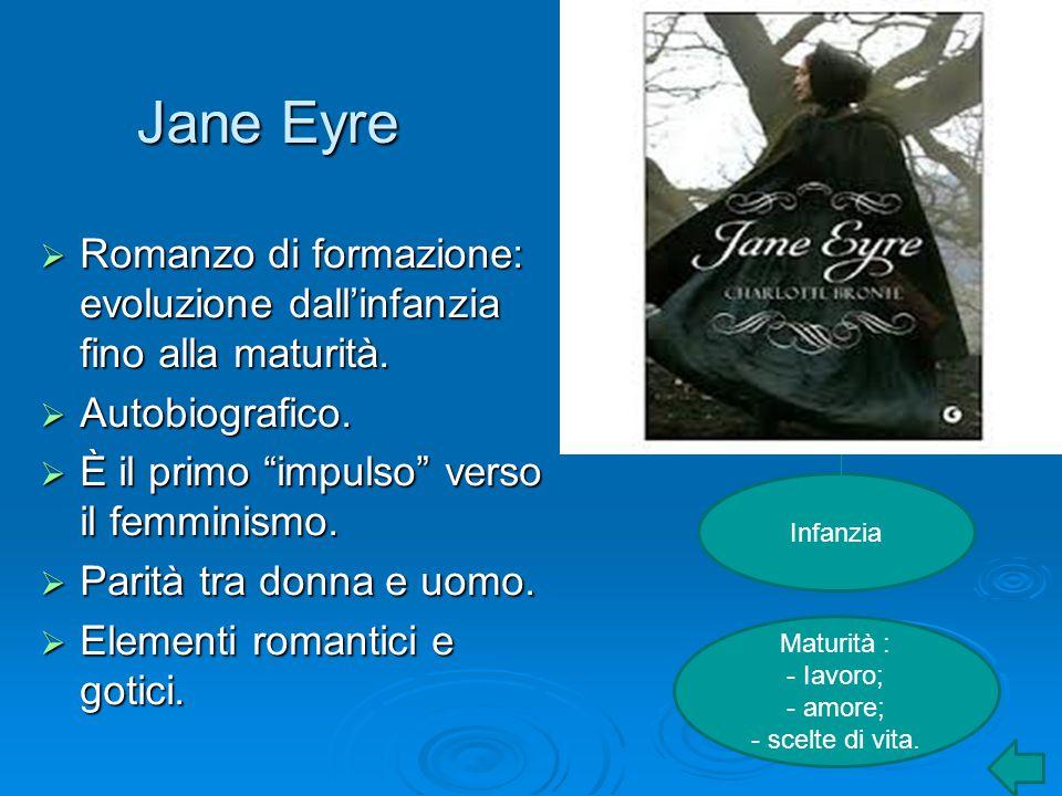 Jane Eyre Romanzo di formazione: evoluzione dall'infanzia fino alla maturità. Autobiografico. È il primo impulso verso il femminismo.
