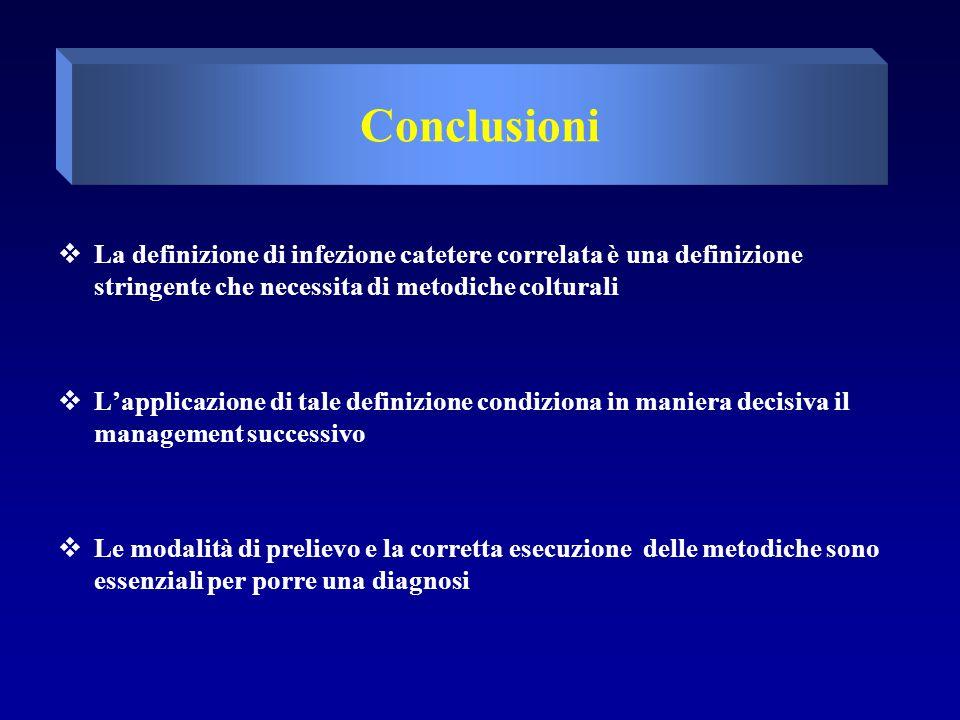 Conclusioni La definizione di infezione catetere correlata è una definizione stringente che necessita di metodiche colturali.