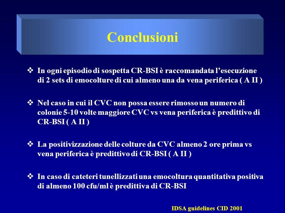 Conclusioni In ogni episodio di sospetta CR-BSI è raccomandata l'esecuzione di 2 sets di emocolture di cui almeno una da vena periferica ( A II )