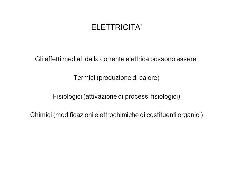 ELETTRICITA' Gli effetti mediati dalla corrente elettrica possono essere: Termici (produzione di calore)