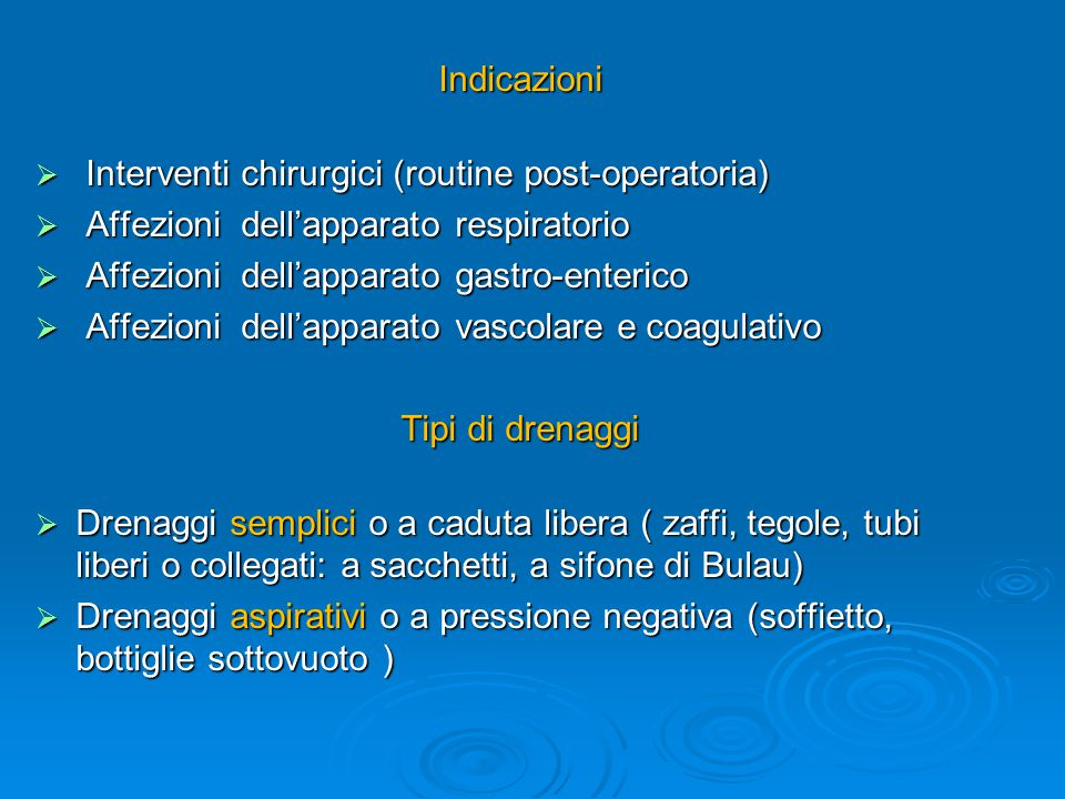 Interventi chirurgici (routine post-operatoria)