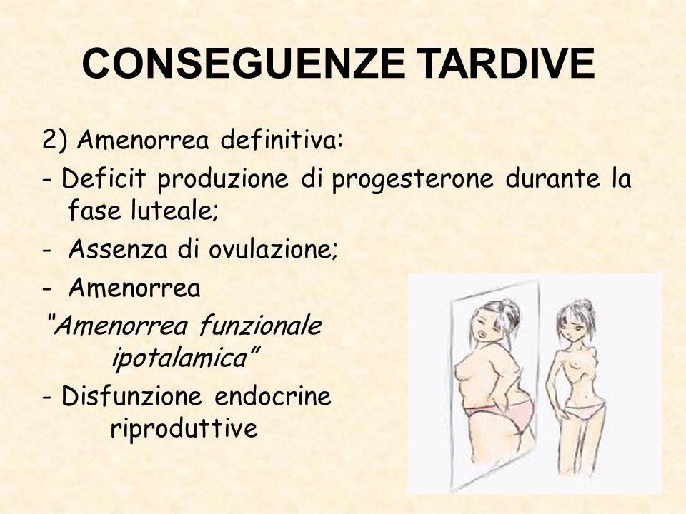 CONSEGUENZE TARDIVE 2) Amenorrea definitiva: