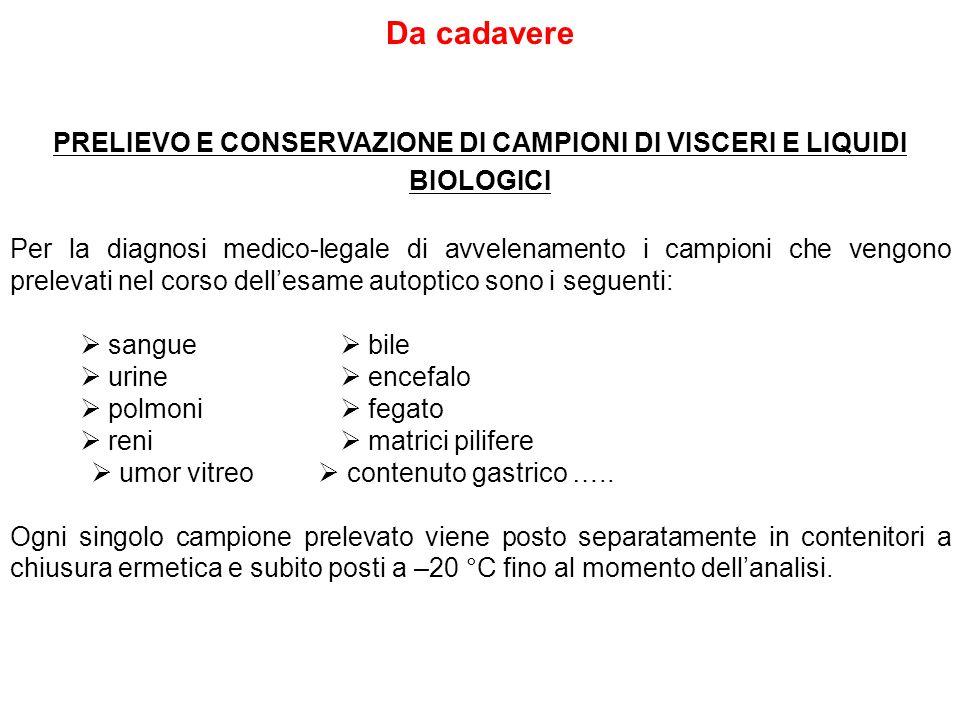 PRELIEVO E CONSERVAZIONE DI CAMPIONI DI VISCERI E LIQUIDI BIOLOGICI
