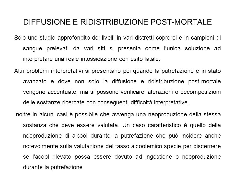 DIFFUSIONE E RIDISTRIBUZIONE POST-MORTALE