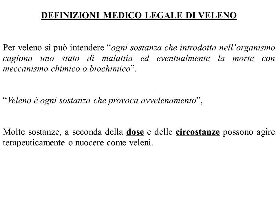 DEFINIZIONI MEDICO LEGALE DI VELENO