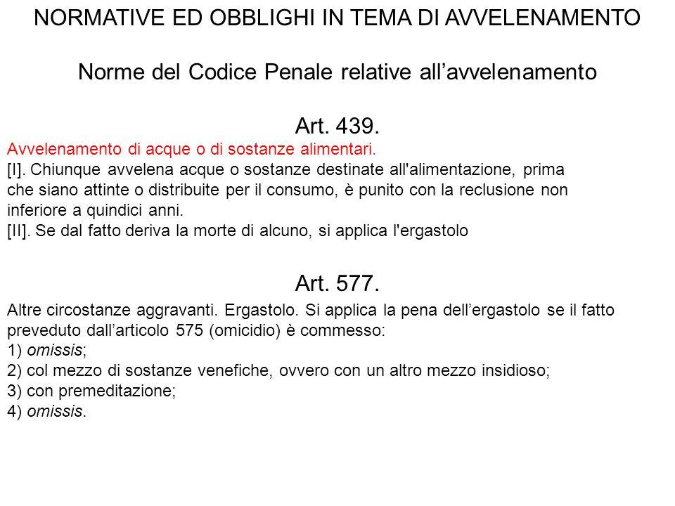 NORMATIVE ED OBBLIGHI IN TEMA DI AVVELENAMENTO