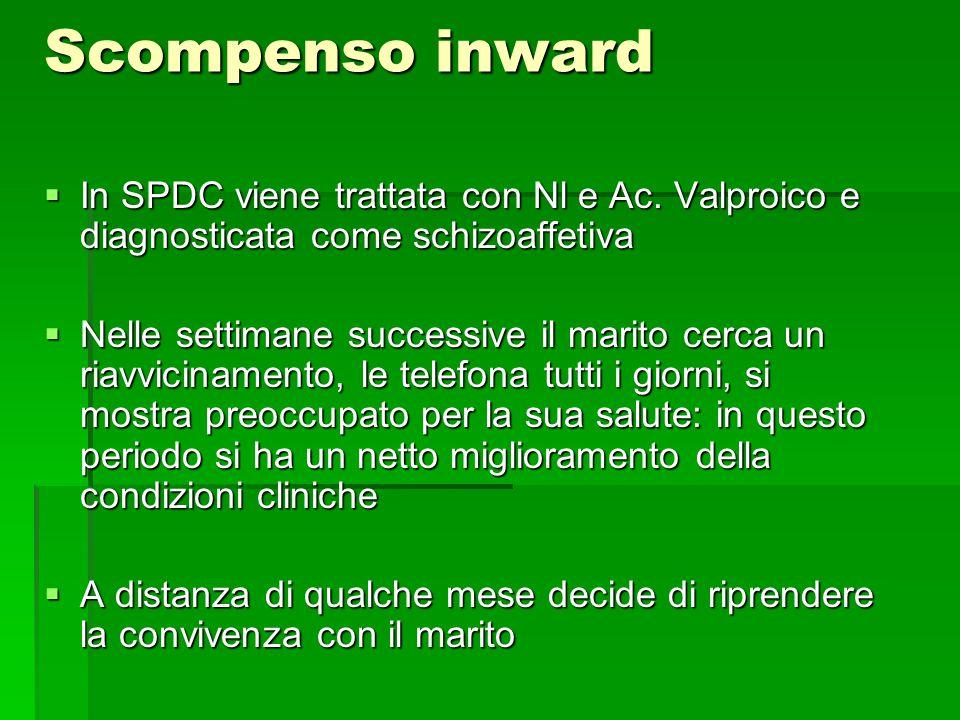 Scompenso inward In SPDC viene trattata con Nl e Ac. Valproico e diagnosticata come schizoaffetiva.