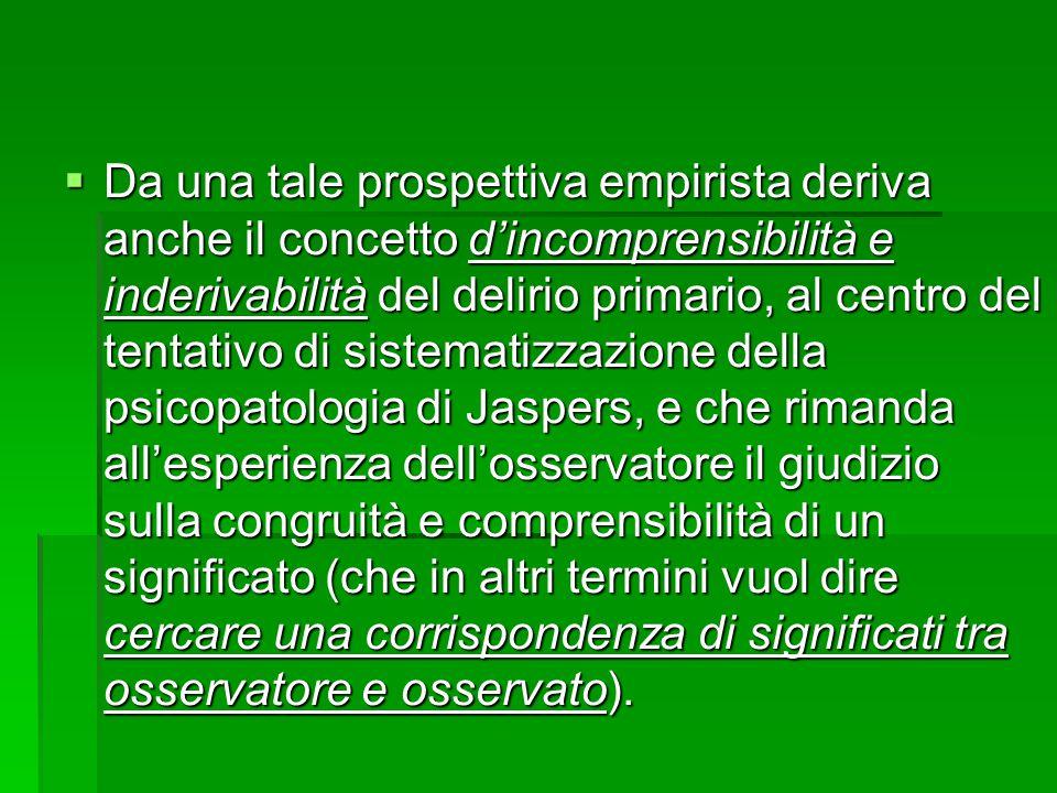 Da una tale prospettiva empirista deriva anche il concetto d'incomprensibilità e inderivabilità del delirio primario, al centro del tentativo di sistematizzazione della psicopatologia di Jaspers, e che rimanda all'esperienza dell'osservatore il giudizio sulla congruità e comprensibilità di un significato (che in altri termini vuol dire cercare una corrispondenza di significati tra osservatore e osservato).