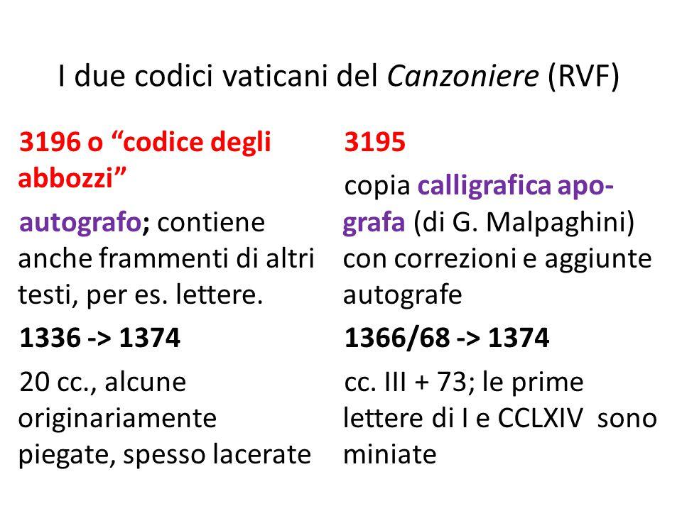 I due codici vaticani del Canzoniere (RVF)