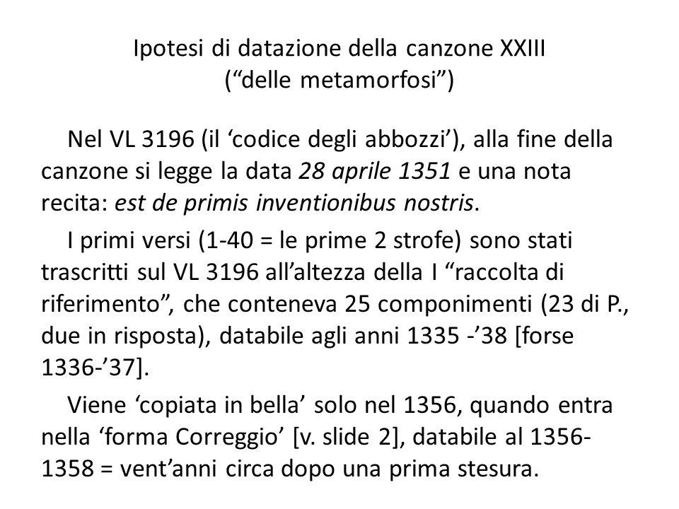 Ipotesi di datazione della canzone XXIII ( delle metamorfosi )