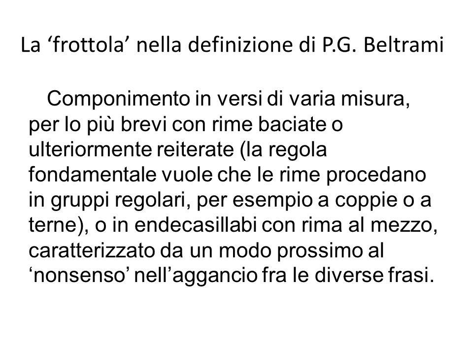 La 'frottola' nella definizione di P.G. Beltrami