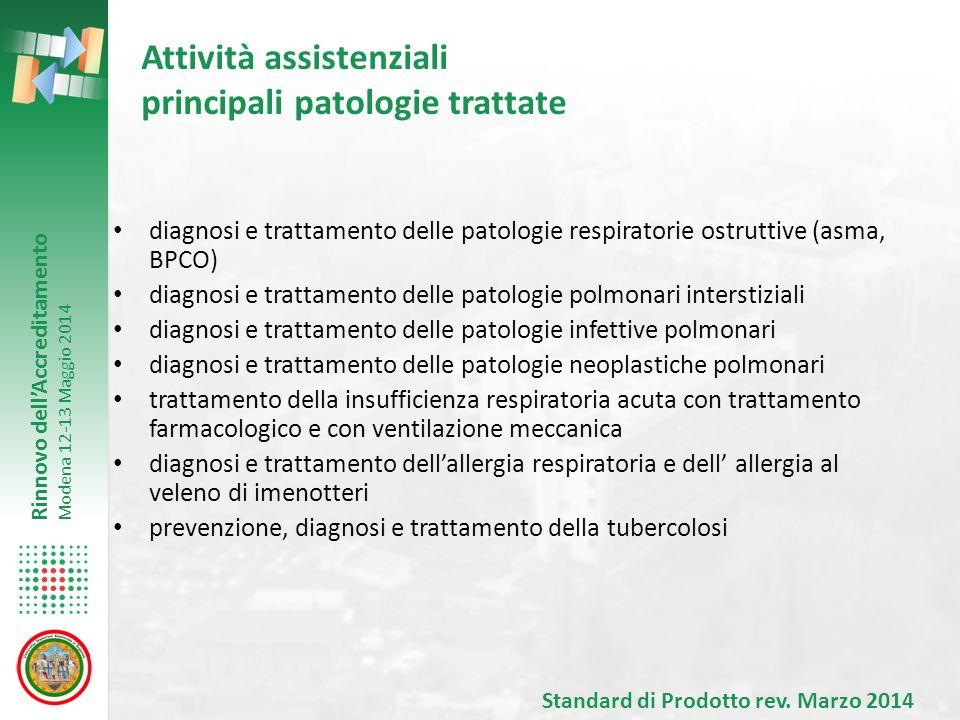 Attività assistenziali principali patologie trattate
