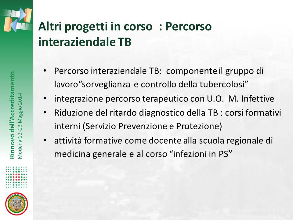 Altri progetti in corso : Percorso interaziendale TB