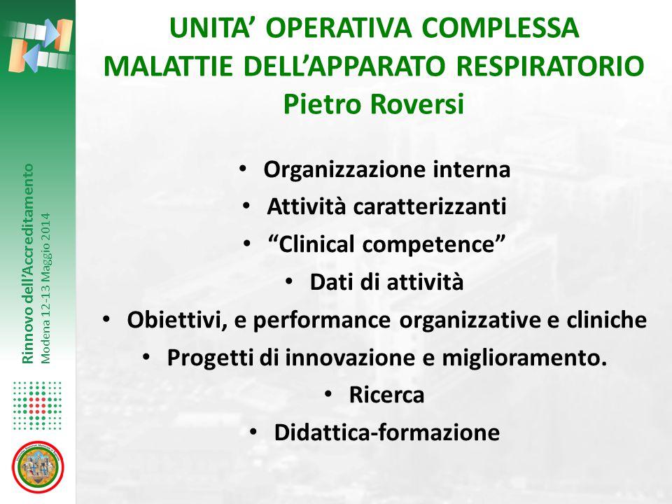 UNITA' OPERATIVA COMPLESSA MALATTIE DELL'APPARATO RESPIRATORIO Pietro Roversi