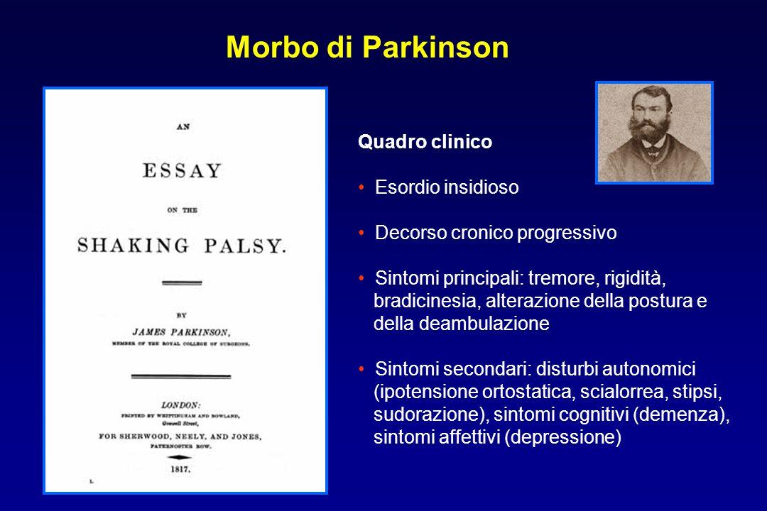Morbo di Parkinson Quadro clinico Esordio insidioso