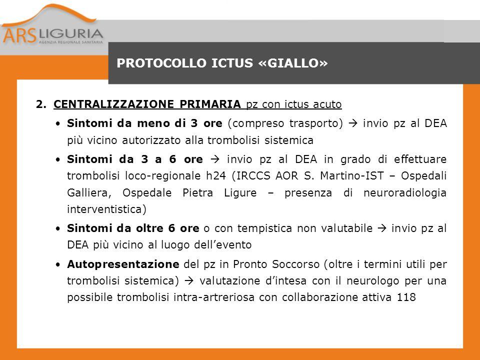 PROTOCOLLO ICTUS «GIALLO»