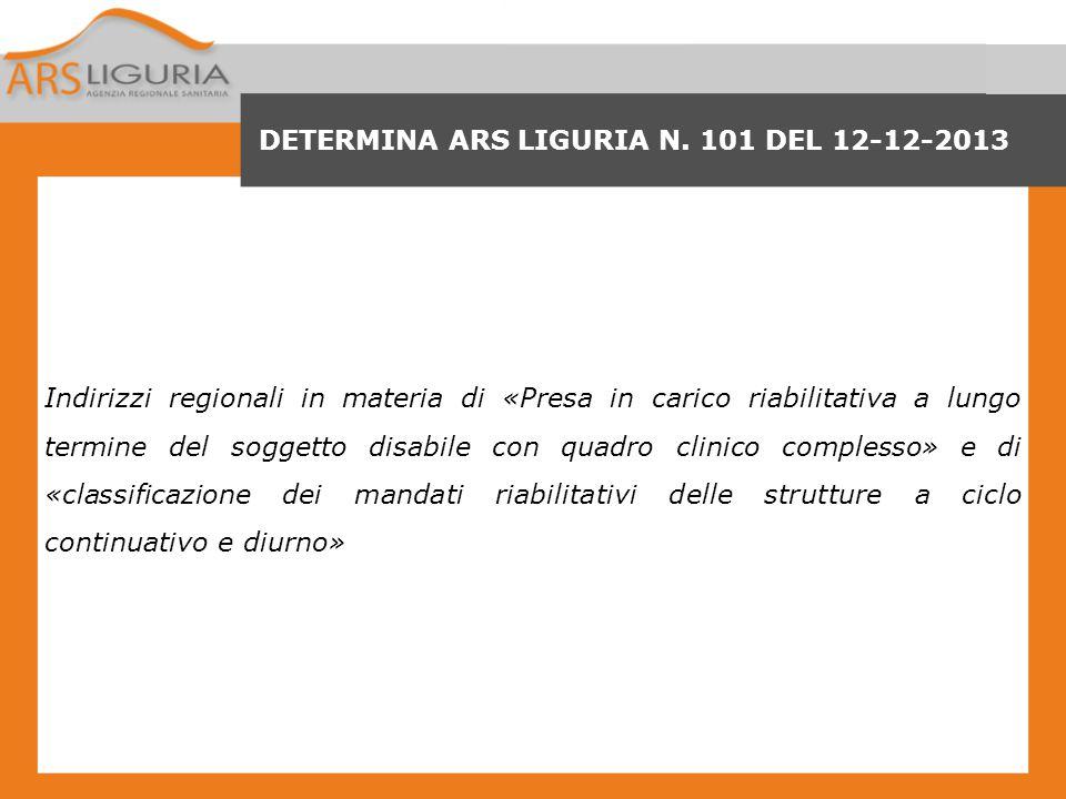 DETERMINA ARS LIGURIA N. 101 DEL 12-12-2013