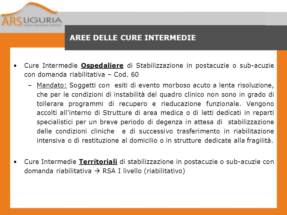 AREE DELLE CURE INTERMEDIE