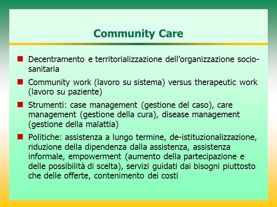 Community Care Decentramento e territorializzazione dell'organizzazione socio-sanitaria.