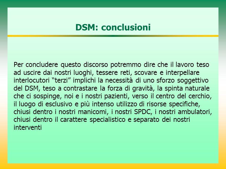 DSM: conclusioni