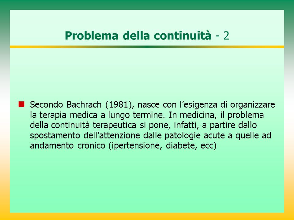 Problema della continuità - 2