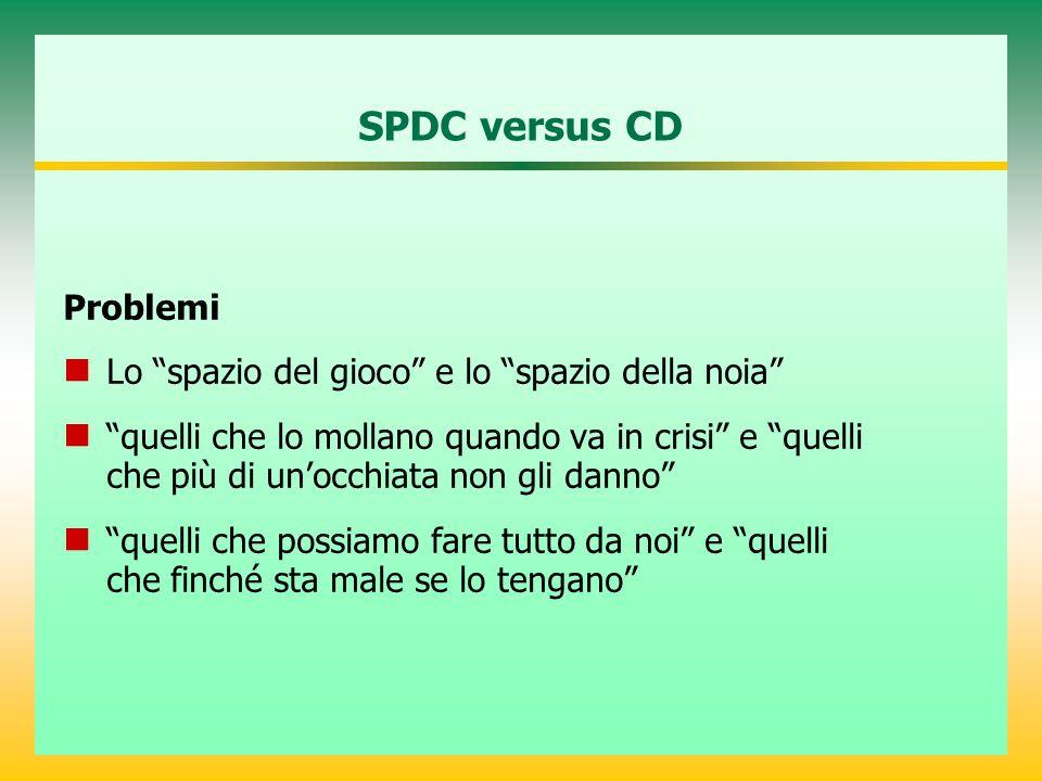 SPDC versus CD Problemi Lo spazio del gioco e lo spazio della noia